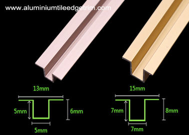Anodized Colored Aluminium Tile Edge Trim / Tile Divider Trim For The Wall